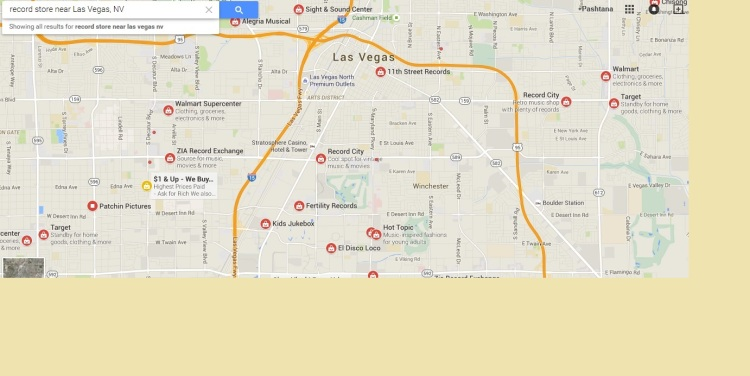"Google has a surprising definition of ""record store,"" especially in Las Vegas. Courtesy of Google Maps."